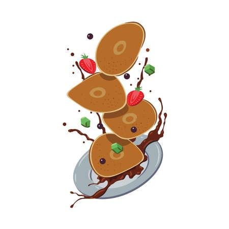 tossed pancakes Illustration