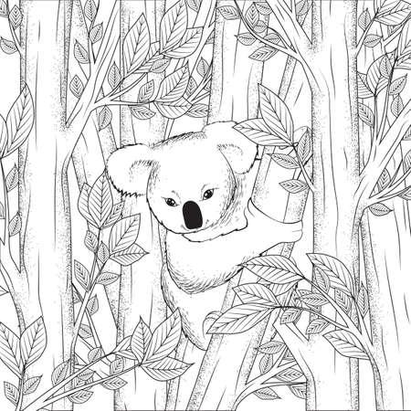 koala bear on tree design Çizim