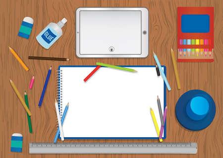 artistic workspace design Illustration