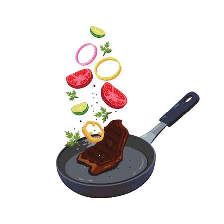 cooking steak on frying pan
