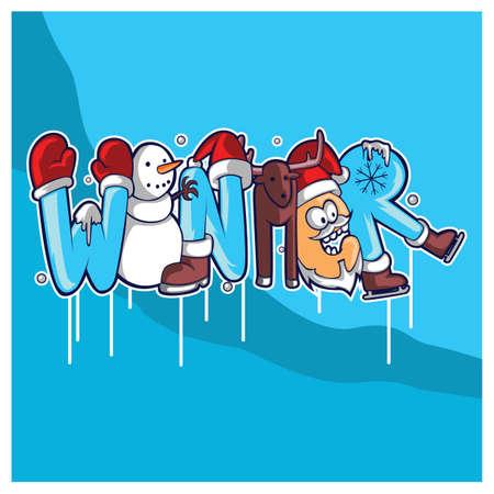 winter lettering design Illustration