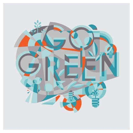 ga groen belettering ontwerp Stock Illustratie