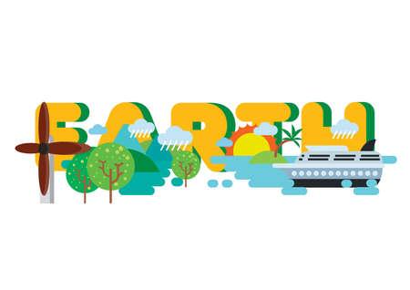 earth lettering design