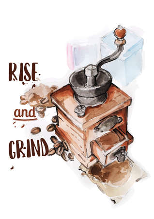 coffee grinder with quote Illustration