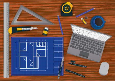 Architect werkruimte ontwerp Stock Illustratie