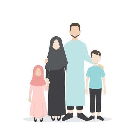 Moslim familie portret Stock Illustratie