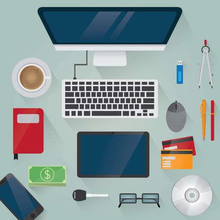 workspace design flatlay Illustration