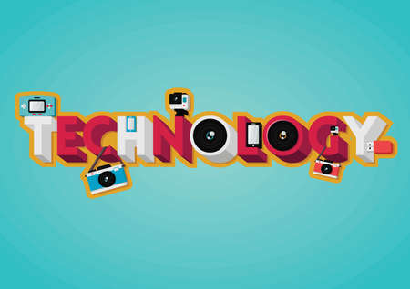 technology lettering design Illustration