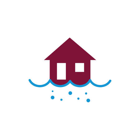 house in a flood concept