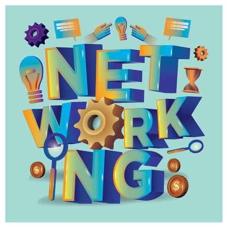 レタリング デザイン ネットワーク  イラスト・ベクター素材