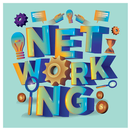 networking lettering design Illustration