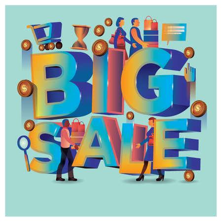 Big sale lettering design 向量圖像
