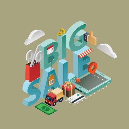 Big sale lettering design Illustration