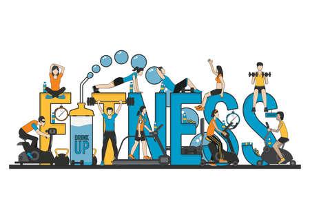 fitness lettering design Ilustração