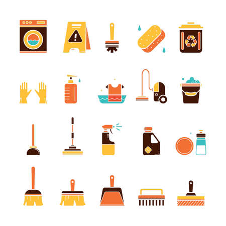 Conjunto de herramientas de limpieza Foto de archivo - 77172298