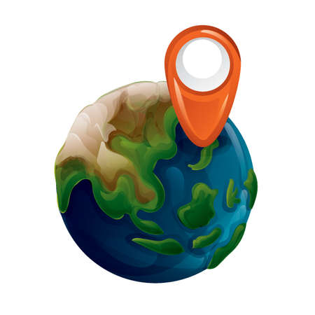 Planet earth with location marker Illustration