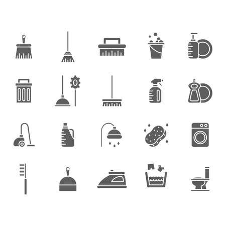 Verzameling schoonmaakbenodigdheden pictogrammen