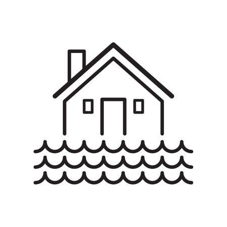 House during flood concept