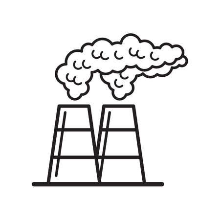 Power plant and pollution concept Illusztráció
