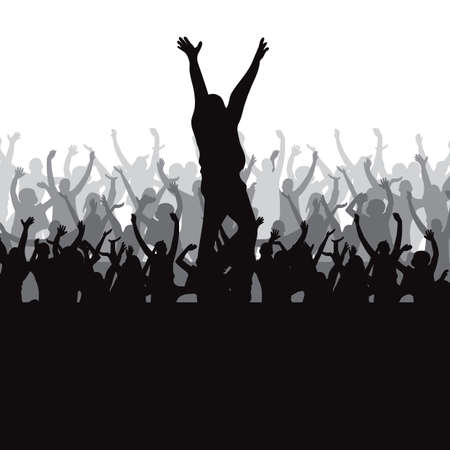 beings: Silhouette of crowd Illustration