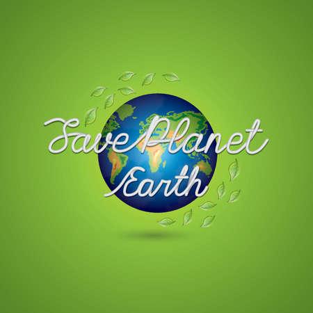 sauver la conception de lettrage de la planète terre