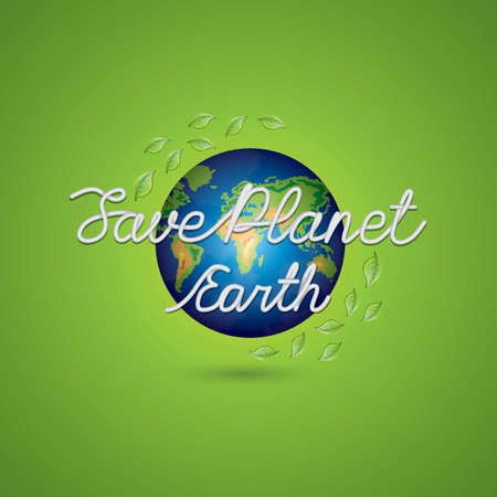 save planet earth lettering design