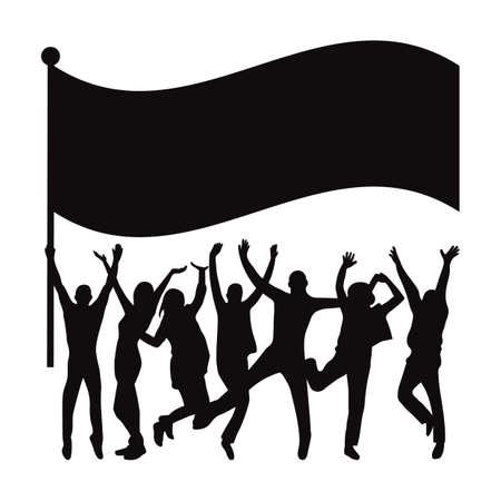 Silhouette of crowd with flag Ilustração