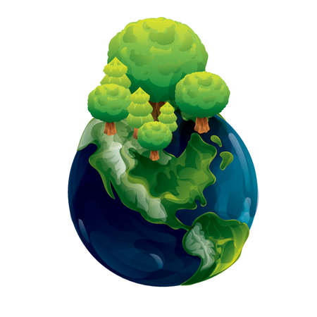 planet earth with trees concept