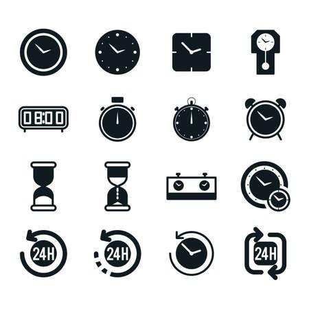 set of clock icons Ilustracja