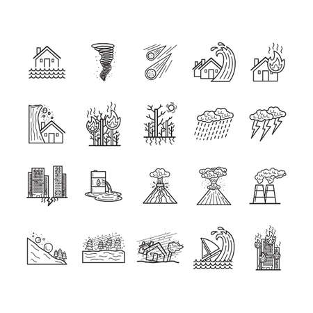 collection of natural disaster concepts Ilustrace