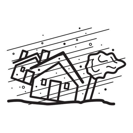 house in heavy wind concept