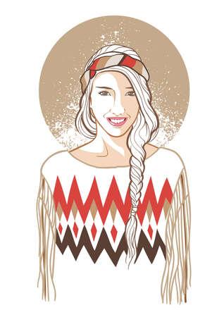 woman in hippie fashion Ilustração
