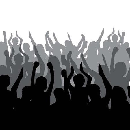 観衆の喝采のシルエット  イラスト・ベクター素材