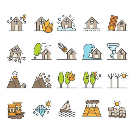 verzameling van rampspictogrammen
