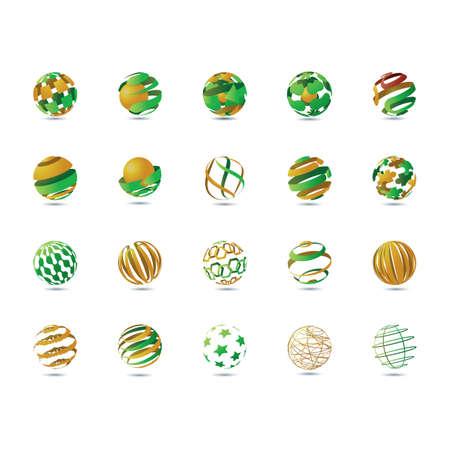 A set of globe elements Illustration