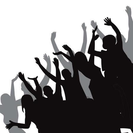 silhouette of crowd Ilustração