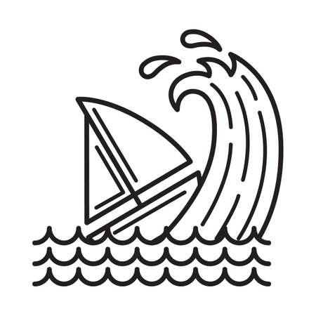津波に巻き込まれるボート