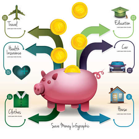 save money infographic Ilustrace