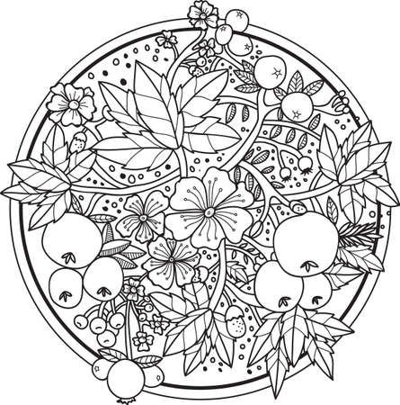 intricate flower and berries design