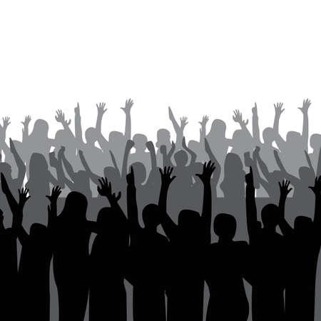 silhouet van menigte juichen