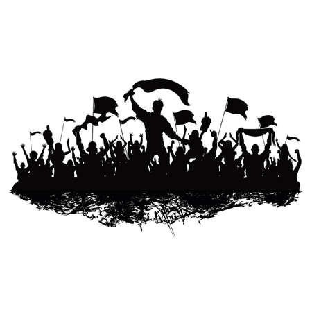 silhouet van juichende menigte Stock Illustratie