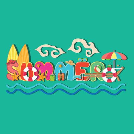 summer lettering design Imagens - 77395212