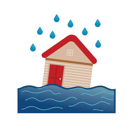 洪水  イラスト・ベクター素材