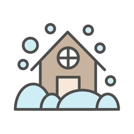 house in snowstorm Ilustração