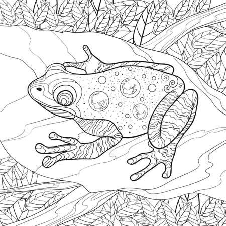 葉の設計上の複雑なカエル  イラスト・ベクター素材