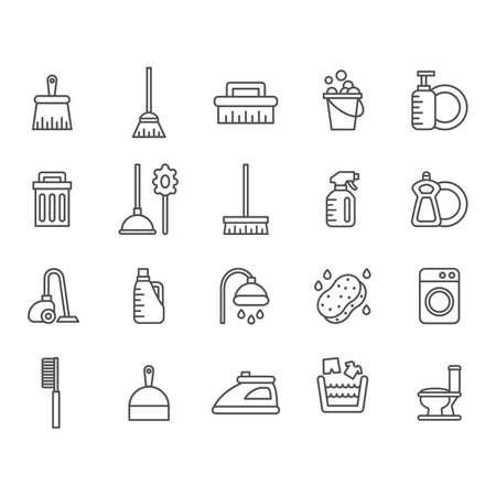 verzameling schoonmaakbenodigdheden pictogrammen Stock Illustratie