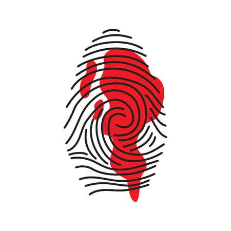 拇印の証拠  イラスト・ベクター素材