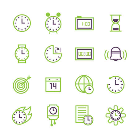 Set of time concept icons.