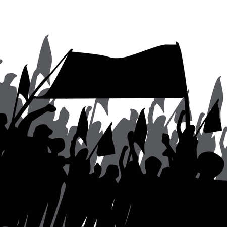 silhouette of crowd with banner and flags Ilustrace