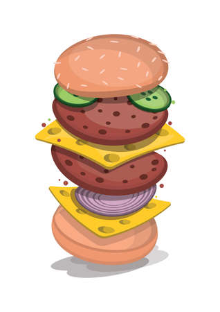 tossed cheeseburger Illustration